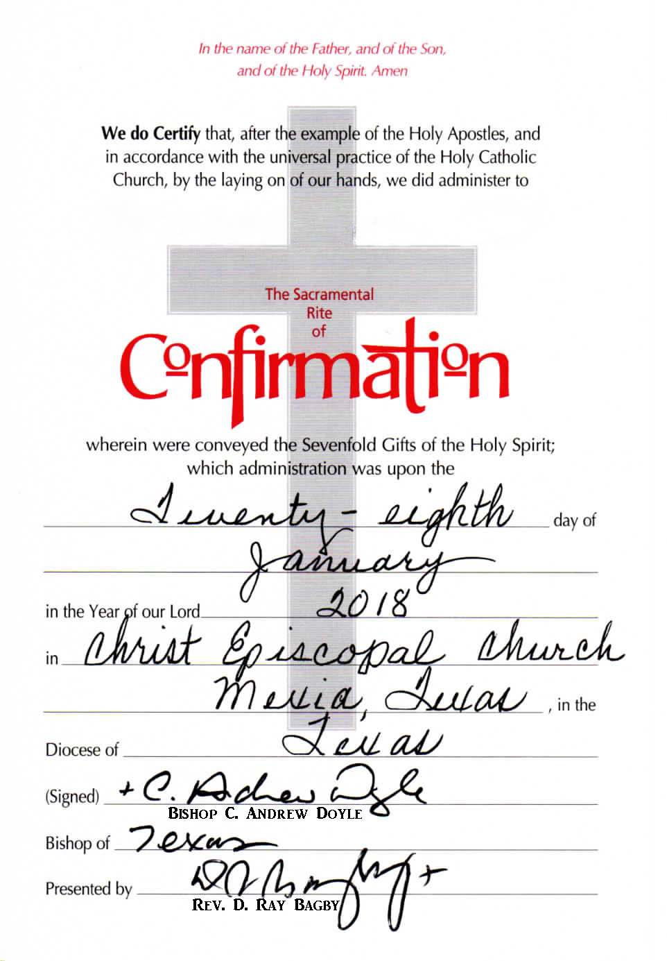 Baptism, Confirmation & Reception, 2018
